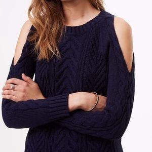 NWT navy blue LOFT open shoulder sweater size XL